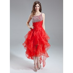 Corte A/Princesa Un sólo hombro Asimétrico Organdí Vestido de baile de promoción con Bordado Lentejuelas Cascada de volantes