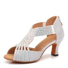Женщины Атлас На каблуках Латино с горный хрусталь Обувь для танцев
