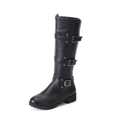 Women's Leatherette Flat Heel Boots Mid-Calf Boots With Buckle shoes
