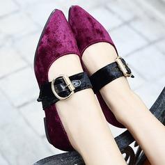 Femmes Suède Talon plat Chaussures plates Escarpins avec Boucle chaussures