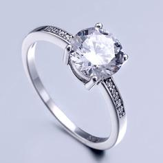 Sterling Silver Cyrkonia Aureola Okrągłe Cięcie Pierścionek zaręczynowy Krążki Obietnica ()