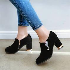 Women's Velvet Chunky Heel Pumps With Rhinestone shoes