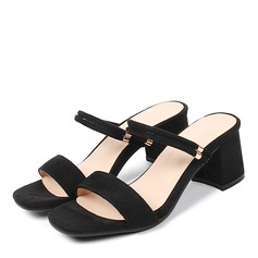 Women's Suede Chunky Heel Sandals Pumps Peep Toe With Others shoes