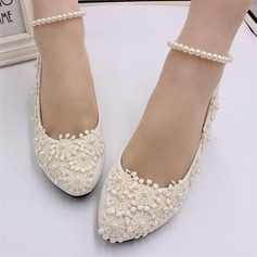 Women's Leatherette Low Heel Closed Toe Pumps With Flower Pearl