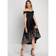 A-Line Off-the-Shoulder Asymmetrical Satin Cocktail Dress With Lace (016212848)