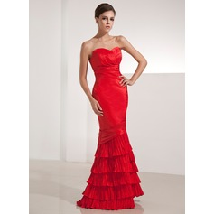 Trumpet/Mermaid Sweetheart Floor-Length Taffeta Evening Dress With Cascading Ruffles Pleated