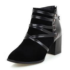 Kvinnor Äkta läder Tjockt Häl Stövlar Boots med Zipper skor
