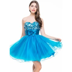 Vestidos princesa/ Formato A Coração Curto/Mini Tule Lantejoulas Vestido de boas vindas com Pregueado fecho de correr