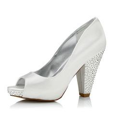 De mujer Satén Tacón ancho Encaje Zapatos Que Se Pueden Teñir con Rhinestone
