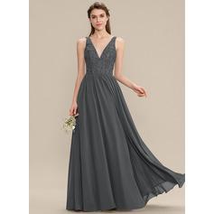 Corte A Decote V Longos Tecido de seda Renda Vestido de madrinha