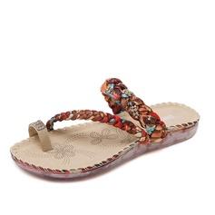 Femmes Similicuir Talon plat Sandales avec Cristal Lanière tressé chaussures