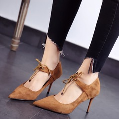 Women's Suede Stiletto Heel Pumps Closed Toe With Lace-up shoes (085111613)