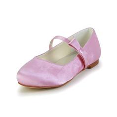 Pigens Lukket Tå Satin Flad Hæl Fladsko Flower Girl Shoes med Bowknot (207095466)
