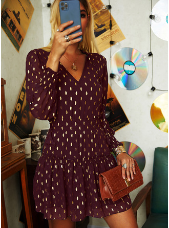 PolkaDot A-line Lantern Sleeve Long Sleeves Mini Casual Skater Dresses