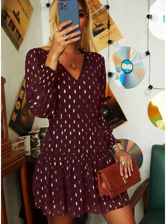 Groszki Sukienka Trapezowa Rękaw latarnia Długie rękawy Mini Nieformalny Łyżwiaż Modne Suknie