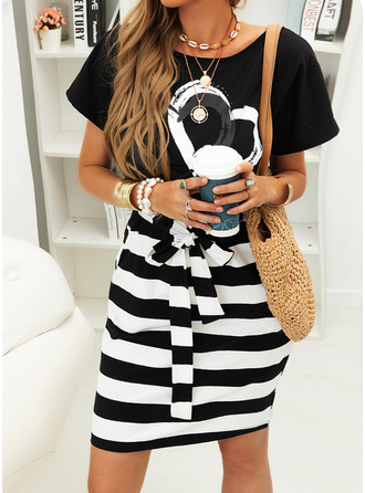 Print Striped Bodycon Short Sleeves Midi Casual Pencil Dresses