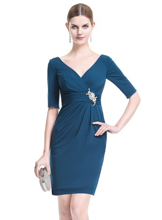 Sheath/Column V-neck Knee-Length Jersey Cocktail Dress With Ruffle Crystal Brooch