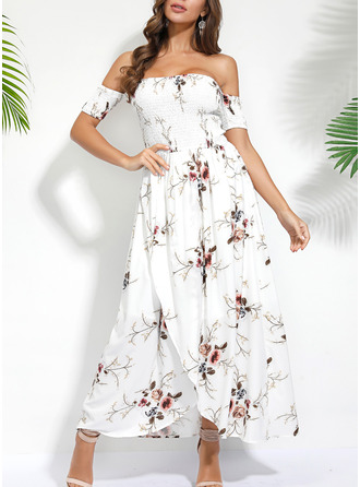 Floral Print A-line Short Sleeves Maxi Casual Vacation Dresses