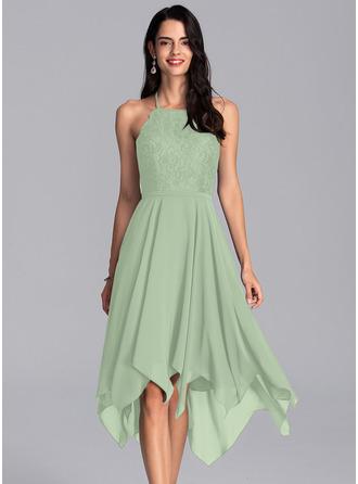 A-Line Halter Asymmetrical Chiffon Homecoming Dress