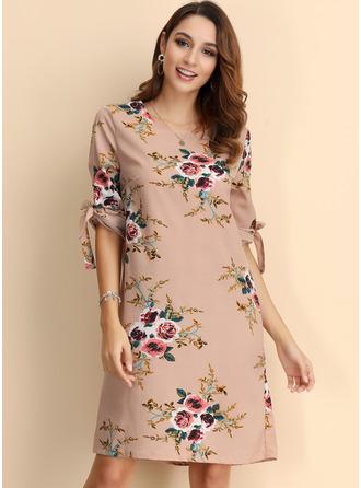 Above Knee Round Neck Cotton Print 1/2 Sleeves Fashion Dresses