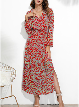 Print Sheath Long Sleeves Maxi Casual Dresses