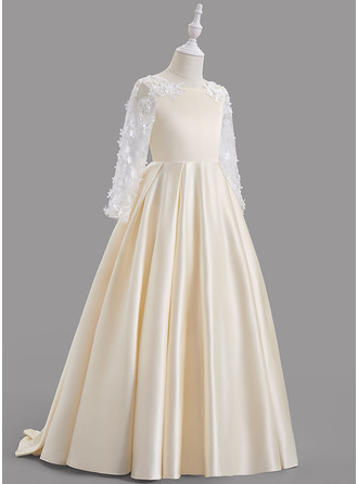 A-Line Scoop Neck Sweep Train With Bow(s)/Back Hole Satin Flower Girl Dress