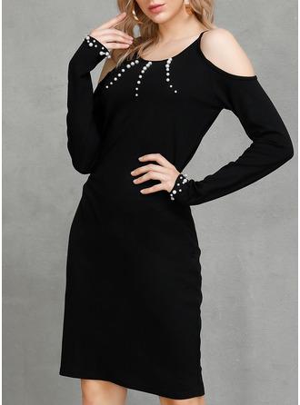 Solid Sheath Cold Shoulder Sleeve Mini Casual Dresses