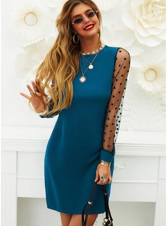 PolkaDot Solid Shiftklänningar Långa ärmar Mini Fritids Elegant Tunika Modeklänningar