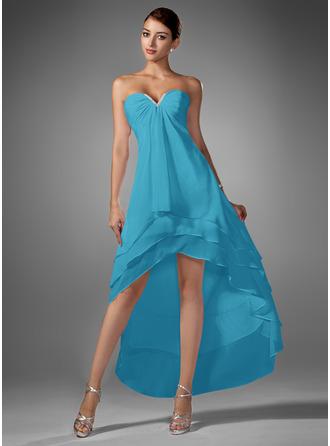 A-Line Sweetheart Asymmetrical Chiffon Homecoming Dress With Ruffle Beading
