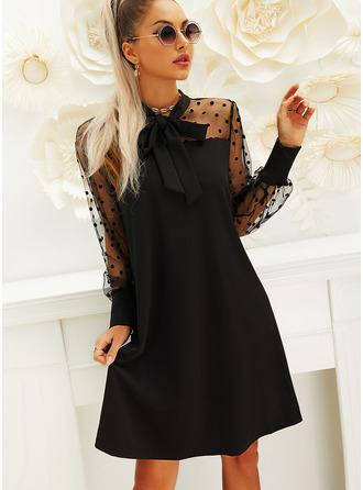PolkaDot Solid Shiftklänningar Långa ärmar Puffärmar Mini Den lilla svarta Party Modeklänningar