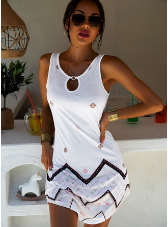 Above Knee Round Neck Cotton Blends Print Sleeveless Fashion Dresses