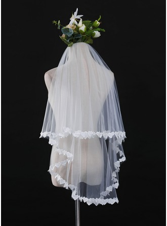 Een-rij Lace Stoffen Rand Wals Bruids Sluiers met Kant