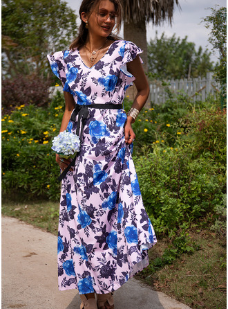 Floral Print A-line Cap Sleeve Maxi Casual Vacation Skater Dresses