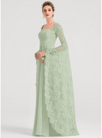 A-Line Square Neckline Floor-Length Chiffon Evening Dress With Ruffle Beading