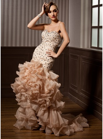 Trumpet/Mermaid Sweetheart Asymmetrical Organza Prom Dresses With Beading Cascading Ruffles