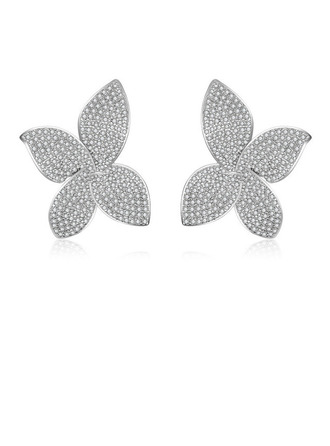 Ladies' Classic Alloy Rhinestone Earrings For Bride