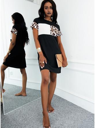 Leopard Color Block Sheath Short Sleeves Mini Casual Dresses