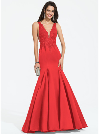 Trumpet/Mermaid V-neck Sweep Train Satin Prom Dresses With Beading