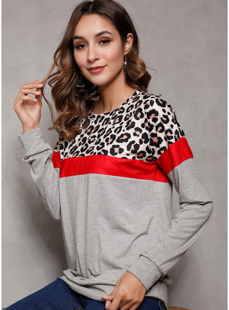 Leopard Color Block Round Neck Long Sleeves Casual