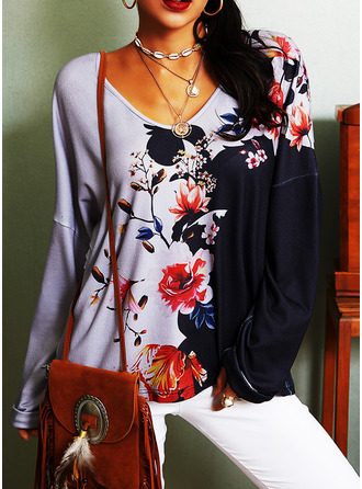 Color Block Floral Print V-Neck Long Sleeves Casual T-shirt