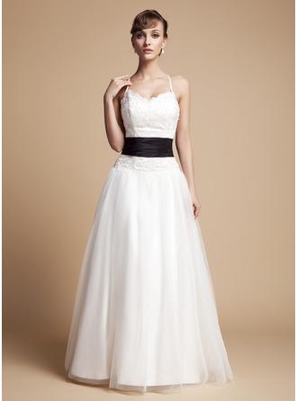 Corte A/Princesa Escote en V Hasta el suelo Tul Encaje Vestido de novia con Volantes Fajas Bordado Lazo(s)