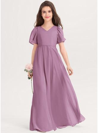 A-Line V-neck Floor-Length Chiffon Junior Bridesmaid Dress With Bow(s)