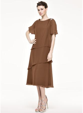 A-Linie/Princess-Linie U-Ausschnitt Wadenlang Chiffon Kleid für die Brautmutter mit Perlstickerei Pailletten Gestufte Rüschen