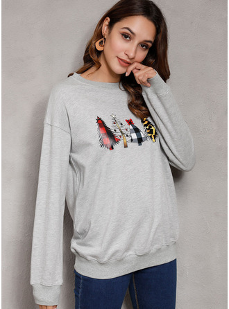 Print Round Neck Long Sleeves Casual