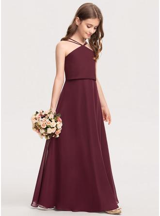 A-Linie V-Ausschnitt Bodenlang Chiffon Kleid für junge Brautjungfern