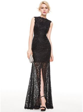 Trumpet/Mermaid Scoop Neck Floor-Length Lace Evening Dress With Split Front