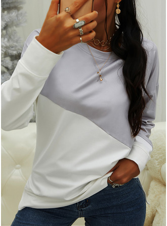 Color Block Round Neck Long Sleeves