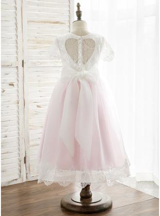 A-Line/Princess Tea-length Flower Girl Dress - Tulle/Lace Short Sleeves Scoop Neck/U Neck With Back Hole