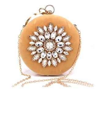 Elegante Cristal / Diamante/Terciopelo Bolso Claqué