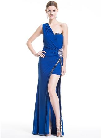 Sheath/Column One-Shoulder Floor-Length Jersey Evening Dress With Beading Sequins